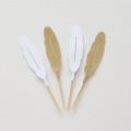 12 Cupcake toppers. White and Gold Boho Feathers. Birthday, baby shower, wedding