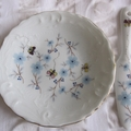 Limoges dish and knife hand painted and decorated with vintage decal
