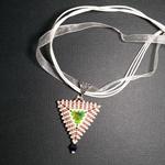 Triangle Beaded Rivoli Pendant Necklace