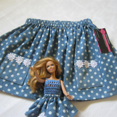 Girl's Skirt Size 3 with matching Barbie Doll outfit