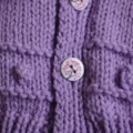SIZE 2-3 yrs - Girls hand knitted cardigan with matching beanie in purple