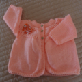SIZE 1 -2 years - knitted cardigan in light apricot: girl, washable, easy care