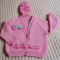 SIZE 3 -4 yrs: Hand knitted cardigan with matching beanie: acrylic, pink, girl