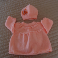 Size 0-6 month hand knitted baby Jacket /Cardigan & beanie with rosette: OOAK