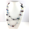 Handcrafted polymer clay long necklace- multicoloured
