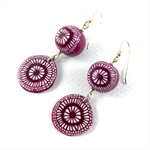Handcrafted polymer clay earrings with sterling silver hooks - raspberry targets