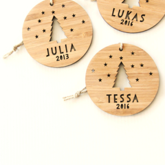 Custom Christmas decoration ornament bamboo wood personalised 1st first