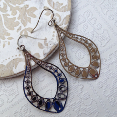 Egyptian Teardrop Hand Cast Rhodium Plated Earrings with Ball End French Nickel