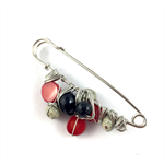 Handcrafted wrap or knitwear pin- wire wrapped red coral and black onyx