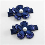 Flower Hair Clip Pair  - Navy