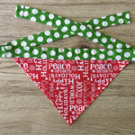 Small Christmas Greeting Bandana (green polka dot necktie)