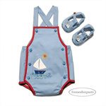 Romper and Shoes, NB 0000 Baby Boy,The Little Blue Sailboat, applique embroidery