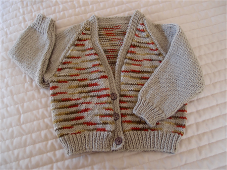 SIZE 2-3 yrs - Boys hand knitted cardigan in multi colour: washable