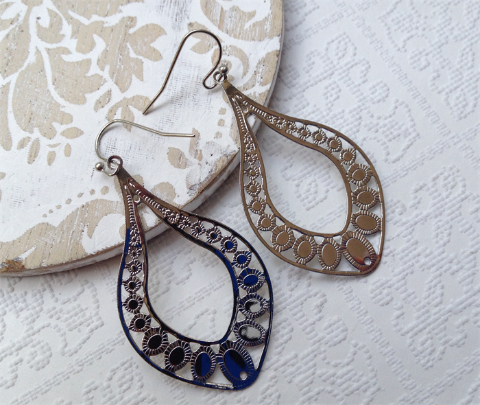 Egyptian Teardrop Hand Cast Rhodium Plated Earrings with