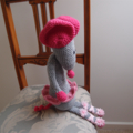 SIZE 1-2 years - knitted cardigan in pinks with matching headband and beanie