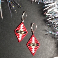 Christmas Beaded Earrings Santa Christmas gift festive xmas father Christmas