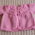 Size 0-6mths hand knitted baby jacket/cardigan: machine washable