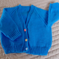 Size1  yr hand knitted cardigan in blue: unisex