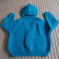 SIZE 3-4 Yrs - Hand knitted cardigan and beanie in aqua:  acrylic, unisex