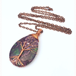TREE OF LIFE Purple AGATE NECKLACE -  wire wrapped