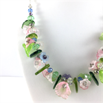 Spring bouquet crystal necklace in green, pink and blue