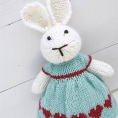 Ruby the Knitted Bunny Rabbit Toy with Mint Green Party Dress with Heart Detail