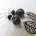 Labradorite and Crystal Mixed Metal Silver and Black Earrings on Nickel Free Sil