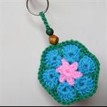 Pink Aqua & Green Crocheted Flower Key Ring