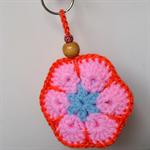Blue Pink & Orange Crocheted Flower Key Ring