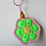 Yellow Green & Pink Crocheted Flower Key Ring