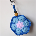 Blue & Pink Crocheted Flower Key Ring