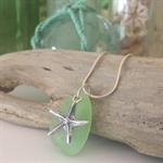 Lime Green Sea Glass Starfish Pendant