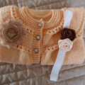 Size 1 Yr Old, apricot/white/pink & mint, washable, girl, acrylic