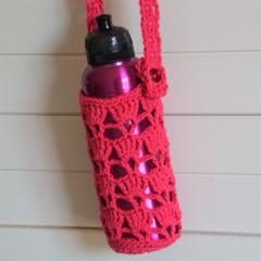 Fuschia Crocheted Water Bottle Carrier