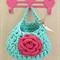 Mint Pink Crochet Hanging Yarn Basket , tshirt Yarn Basket ,
