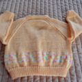 Size 1 (+) Yr Old, apricot/white/pink & mint, washable, girl, acrylic