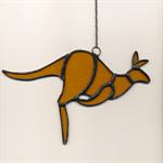 Brown Stained Glass Kangaroo Suncatcher
