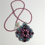Purple Rivoli Beaded Pendant Necklace