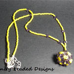 Purple Summer Beaded Ball Beaded Necklace