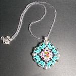Rainbow Rivoli Beaded Pendant Necklace