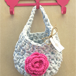 Light Blue Pink Crochet  Hanging Yarn Basket , tshirt Yarn Basket ,