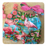 GORGEOUS GUSSIES SET 'Flamingo', Girl, Bloomers, Twist Top, Top Knot