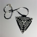 White and Black Triangle Beaded Necklace