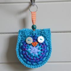 Blue & Orange Crochet Owl Keyring