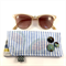 Glasses / sunnies case with kimono fabric covered buttons- blue & white stripe