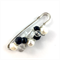 Handcrafted wrap or knitwear pin -black and clear crystals