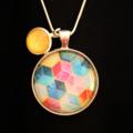 Colourful Cuboid~ Silver Plate Pendant