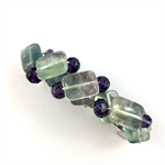 Handcrafted wire wrapped beaded hair clip / ponytail holder - Fluorite & crystal