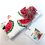 Glasses / sunnies case with detachable flower brooch - watermelon
