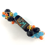 Handcrafted beaded hair clip / ponytail holder - black, orange and turquoise